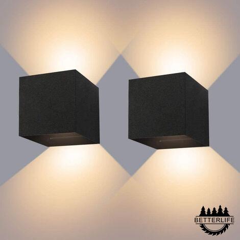 2pcs 12W Applique Murale Intérieure / Extérieure IP65 Étanche LED Applique Murale Réglable Down Light 3000K Applique Murale Blanc Chaud pour Passage Salon et Chambre