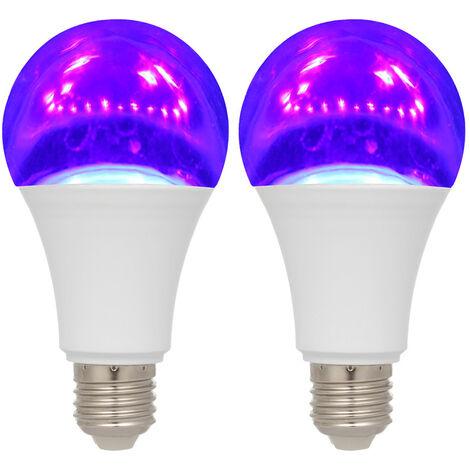 2PCS 12W LED Bombilla UV Bombilla violeta, Nivel UVA 385-400nm Efecto de resplandor