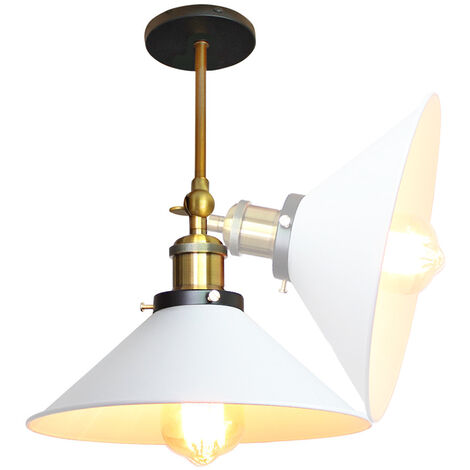 2pcs 22cm Metal Iron Wall Lamp Industrial Ceiling Light Retro Wall Sconce Vintage Wall Light White