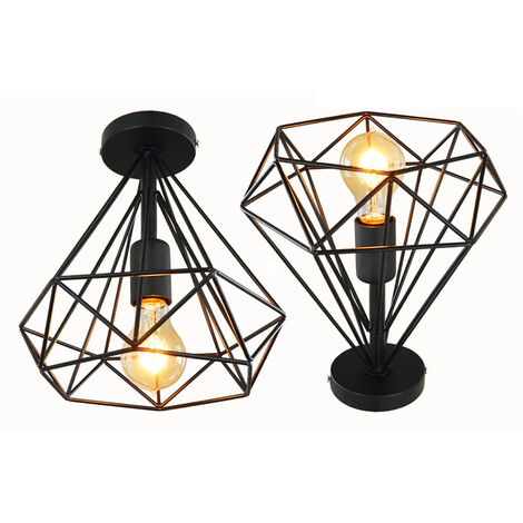 2pcs 25cm Vintage Diamond Cage Ceiling Light Retro Industrial Pendant Lamp Metal Iron Cage Chandelier for Loft Home Office Restaurant Cafe Black