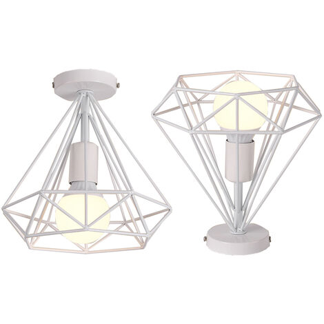 2pcs 25cm Vintage Diamond Cage Ceiling Light Retro Industrial Pendant Lamp Metal Iron Cage Chandelier for Loft Home Office Restaurant Cafe White