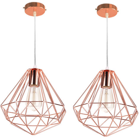 2pcs Ø26cm Modern Diamond Hanging Lamp Creative Chandelier Vintage Industrial Pendant Lamp E27 for Loft, Office, Interior Rose Gold