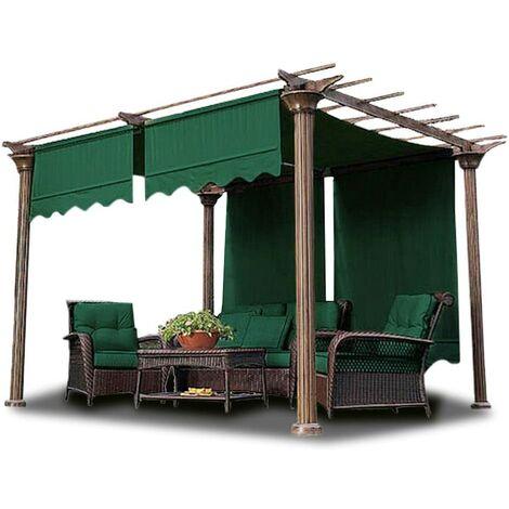 2Pcs 4.72*1.2m Voile d'ombrage Auvent Couverture Extérieure Jardin Patio Abri vert