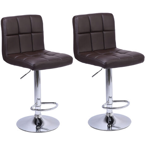 2Pcs 60-80cm 6 Checks Round Cushion No Armrest Bar Stool Coffee - Coffee