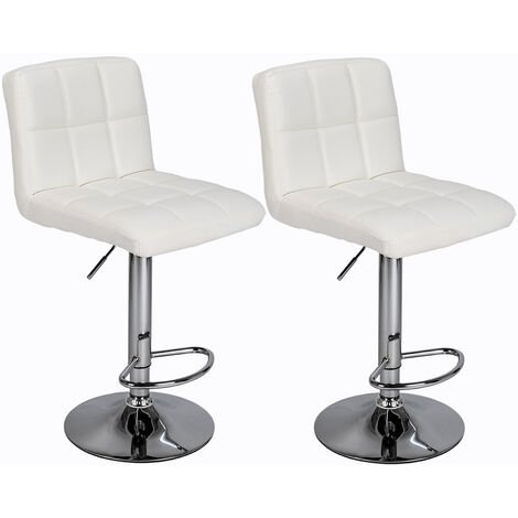 2Pcs 60-80cm 6 Checks Round Cushion No Armrest Bar Stool White - White