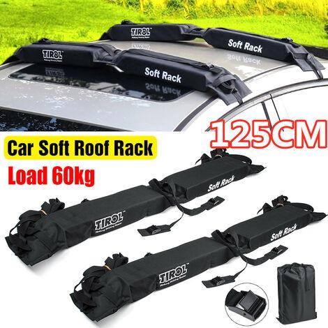 2pcs 60kg 600D Universal Weatherproof Soft Car Roof Rack Pad Bars Kayak Surfboard Luggage Carrier Load