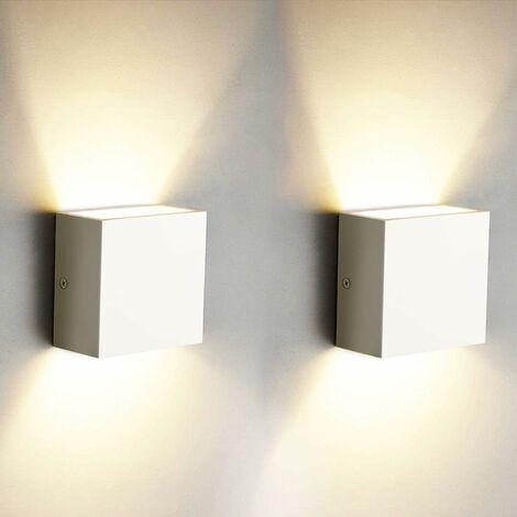 2pcs 6W Moderno LED Apliques Cubo Arriba Abajo Lámpara de Pared Interior iluminación para Sala de estar Dormitorio Cocina Comedor