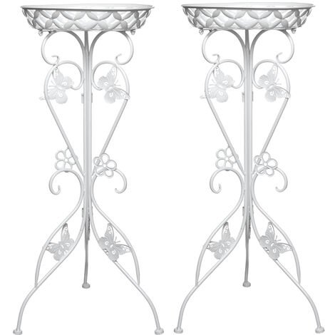 2pcs 77cm Plant Stand Flower Pot Holder Shelf Rack white