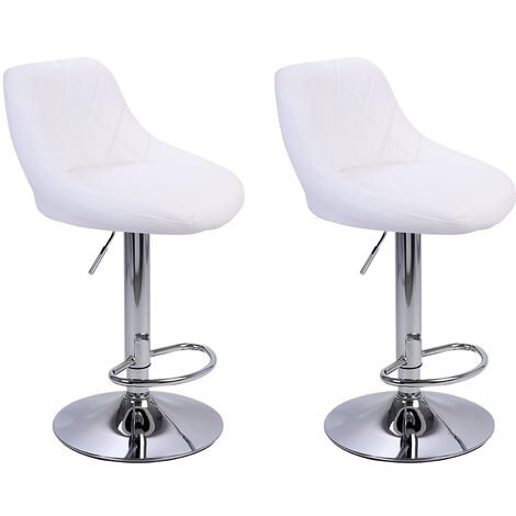 2Pcs Adjustable High Type with Disk No Armrest Rhombus Backrest Design Bar Stools White - White