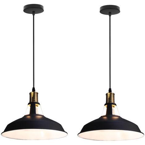 "main image of ""2pcs Antique Hanging Light Retro Chandelier Vintage Pedant Light Industrial Metal Lamp Shade Ceiling Light (Black, Ø27cm)"""