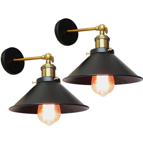 2PCS Applique Murale Métal Style Parapluie 22cm Noir E27, Lampe Rétro Plafonnier Industrielle Eclairage Suspension Luminaire, (Ampoule non compris)