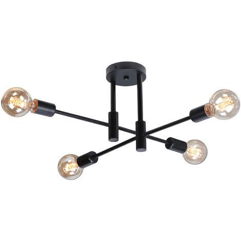 2pcs Araña Retro E27 Lámpara de Techo Industrial de Metal Lámpara de Techo Sombra Negro Vintage Lámpara de Colgante de Diamante Industrial para Cocina Comedor Dormitorio Cafe Bar