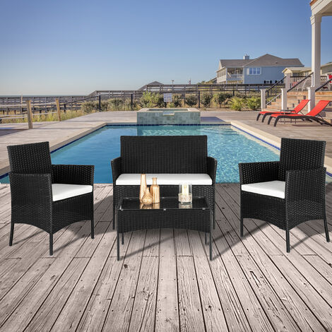 2pcs Arm Chairs 1pc Love Seat & Tempered Glass Coffee Table Rattan Sofa Set -Different color