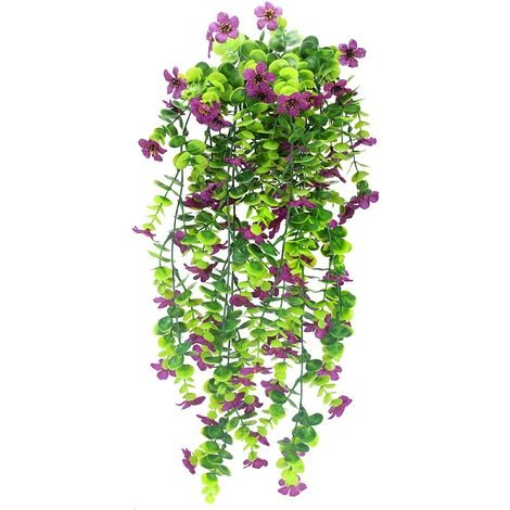 2PCS Artificial Ivy Artificial Plant Ivy Hanging Lamp with Purple Artificial Flowers Indoor Outdoor Artificial Vine Decoration Garden Wedding Christmas Home Evening Party DIY