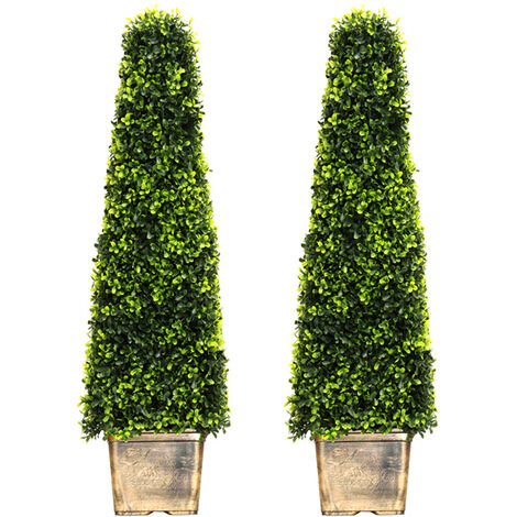 2pcs Artificial Potted Topiary Trees Garden Yard Ornament with Pot
