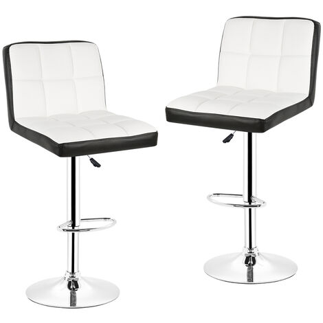 2pcs Bar stool with backrest £¬ 360 degree rotation, height adjustable r¨¦glable White and black