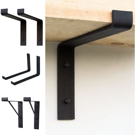 2PCS Black Shelf Brackets Industrial Shelves Bracket for Book Items Floating DIY