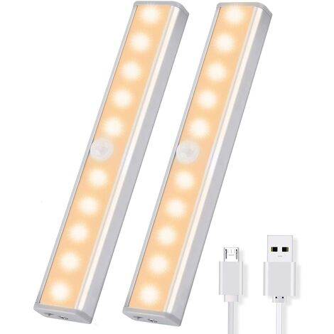2PCS cabinet lights with motion detector cabinet lights LED wireless wardrobe with 2 magnetic strips cabinet light warm white