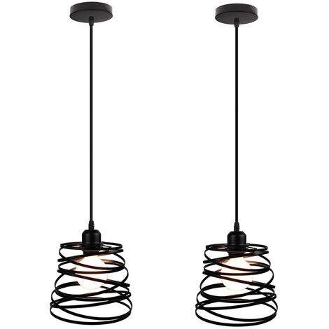 2pcs Candelabro Colgante lampara Jaula industrial Hierro Forma Resorte 20cm Luminaria E27 para Decoración Restaurante Habitación, Negro