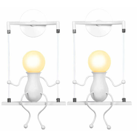 2pcs Cartoon Human Shape Creative Wall Light Swing Decor Ceiling Lamp Modern Metal Wall Lamp for Living Room Bedroom Children Room White
