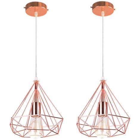 2pcs Contemporary Pendant Light Rose Gold Cage Hanging Light Modern Pendant Lamp Diamond Ceiling Light Metal Iron Lamp Shade