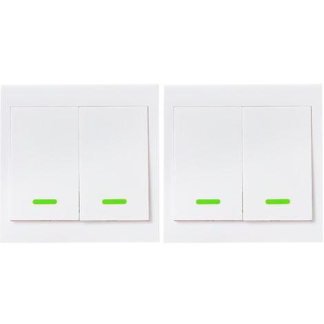2PCS, Controlador remoto con interruptor de luz de pared de boton, 2 Gang, 86 Tipo