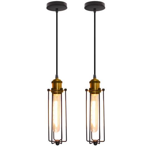 2pcs Creative Strip Pendant Light Retro Industrial Style Hanging Light Vintage Classic Ceiling Light for Cafe Loft Bar Bedroom