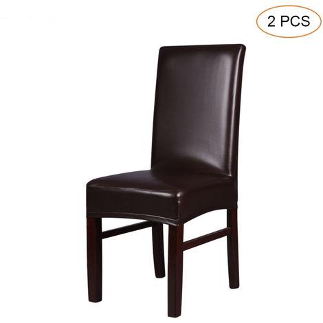 2pcs de una sola pieza de cuero de la PU estirable de restauracion silla hacia atras revestimiento de asientos impermeable a prueba de polvo a prueba de aceite ceremonia Presidente Fundas Protectores, Brown