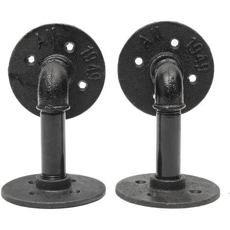 2pcs DIY Retro Industrial Steel Ceiling Steampunk Pipe Shelf Brackets 9x13cm WASHED
