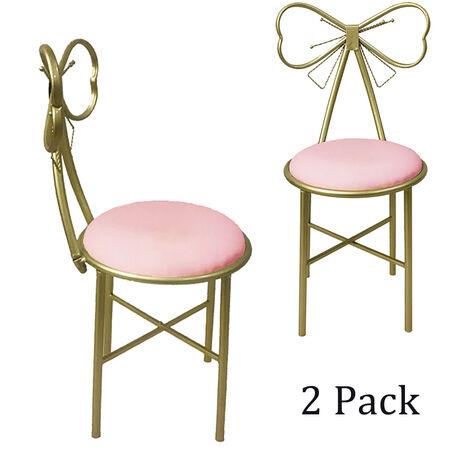 2PCS Dressing Table Stool Velvet Chair Bedroom Makeup Vanity Chair 80x29cm pink