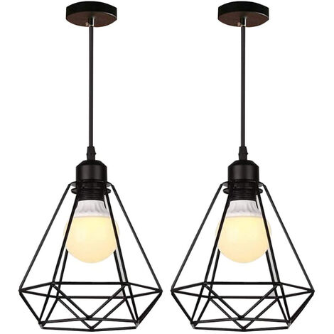 2pcs E27 Retro Chandelier Industrial Pendant Light Metal Ceiling Lamp Shade Black Vintage Industrial Diamond Pendant Light Fixture for Kitchen Dining Bedroom Cafe Bar