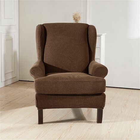2PCS Elastic Wingback Wing Chair Cover Stretch Protector SlipCover Protector (Coffee, Style B)