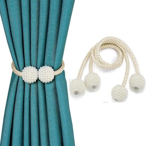 2pcs embrasses de rideaux magnétiques clips de retenue de corde décoratifs, attaches de draperie dos porte-armure pour rideaux de fenêtre tiennent rideaux drapé cravates arrière, beige