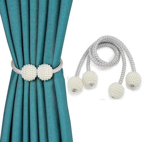 2pcs Embrasses de rideaux magnétiques Clips de retenue de corde décorative, attaches de draperie au dos support d'armure pour rideaux de fenêtre contenir des rideaux drapés attaches au dos, gris