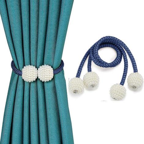 2pcs Embrasses de rideaux magnétiques Clips de retenue de corde décorative, attaches de draperie au dos support d'armure pour rideaux de fenêtre tenir rideaux drapé cravates arrière, bleu