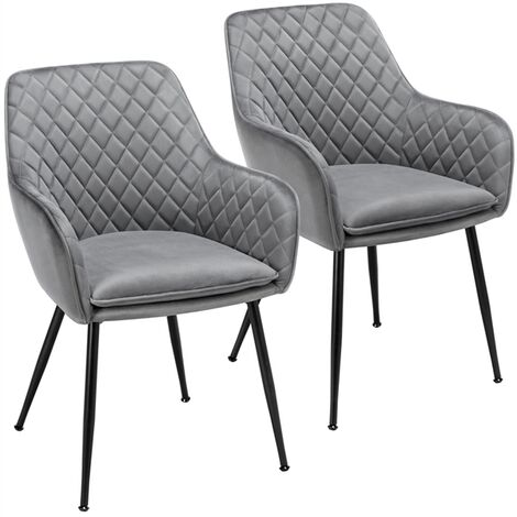 """main image of """"2pcs Fabric Dining Chairs Velvet Armchair Stylish Tub Chairs with Metal Legs Upholstered Seat for Living Room/Kitchen/Counter Lounge Gray"""""""
