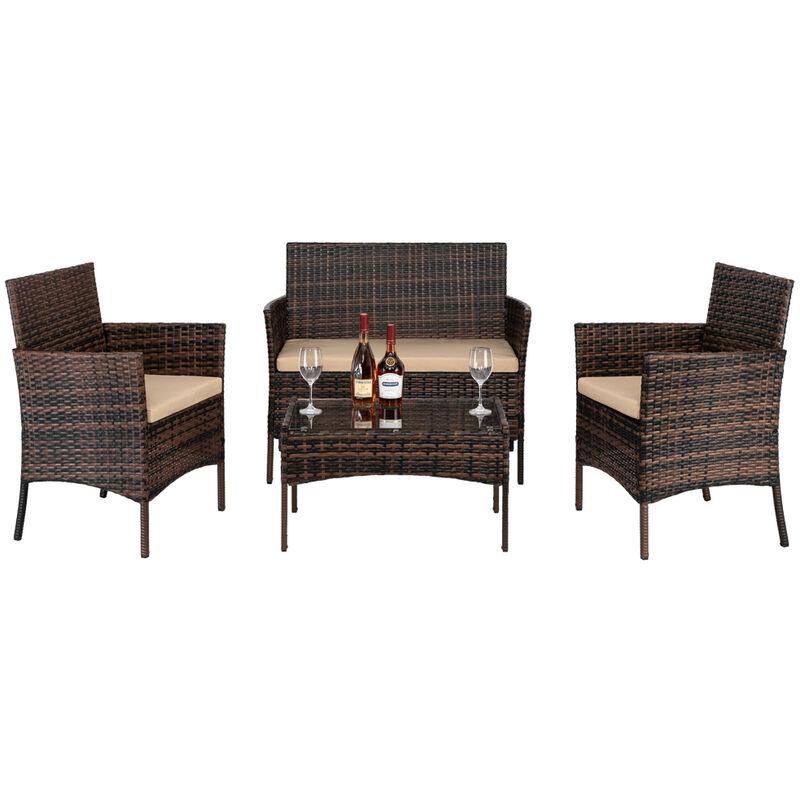2pcs fauteuils 1pc siège d'amour et table basse en verre trempé ensemble de canapé en rotin - Marron