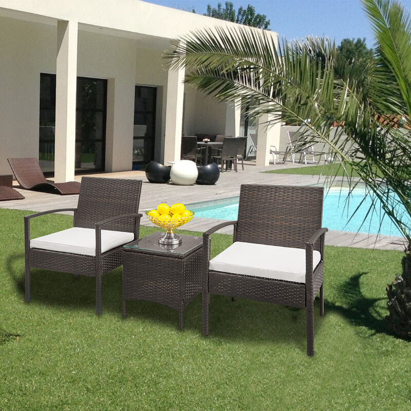 Grosmonde - 2pcs fauteuils 1pc Table basse en rotin canapé ensemble dégradé marron - Marron