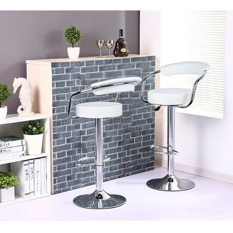 2PCS Faux Leather Bar Stools, Height Adjustable Bar Chair and Footrest White Swivel Kitchen Chair