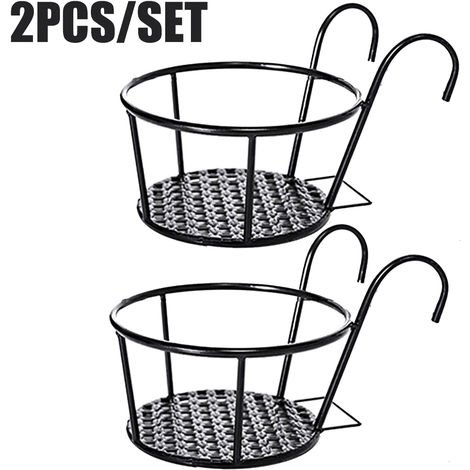 2pcs Garden Plant Pot Iron Holder Hanging Planter Basket