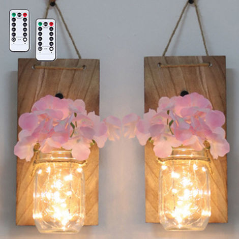 2PCS Glass Mason Jars LED Fairy Lights Wall Hanging Lighting Battery Operated Decorative Indoor String Lights
