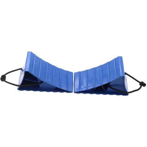 2Pcs Grandes Cales De Roue Avec Corde Pour Rv Camper Voiture Pneu Cales Remorque Solides Cales De Roue Robustes, Bleu