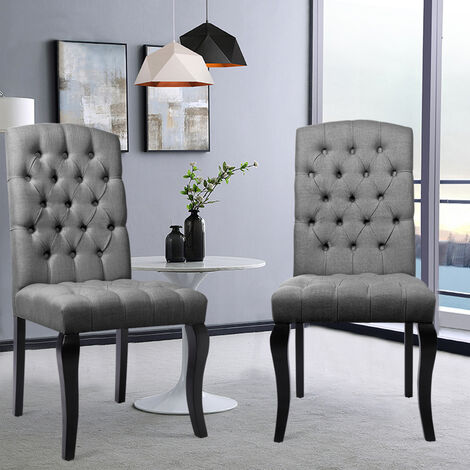 2pcs Grey Fabric Dining Room Chairs High Back Padded Kitchen Chairs