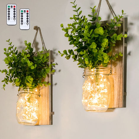 2PCS Hanging Glass Mason Jars LED Fairy Lights Wall Hanging Plastic Plant Home Lighting Battery Operated Decorative Indoor String Lights