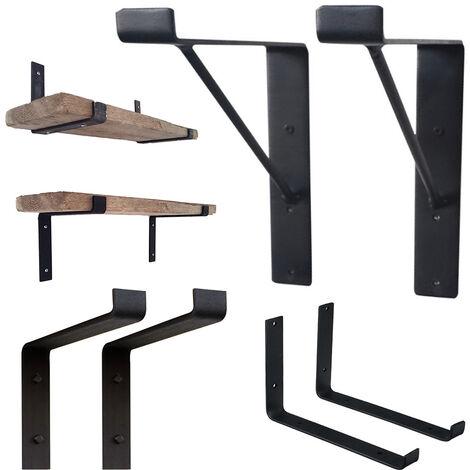 2pcs Heavy Duty Raw Steel Industrial Shelf Bracket Handmade Rustic Scaffold