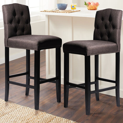 """main image of """"2pcs High Kitchen Bar Stools Footrest Breakfast Bar Stools Padded Seat Buttoned Back"""""""