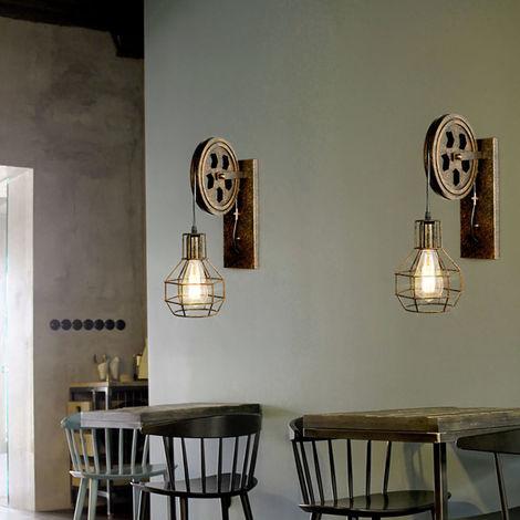 2pcs Industrial Aplique de pared Creativa Lámpara de Polea E27 para pasillo Cafe Bar Restaurante Hotel Cobre retro