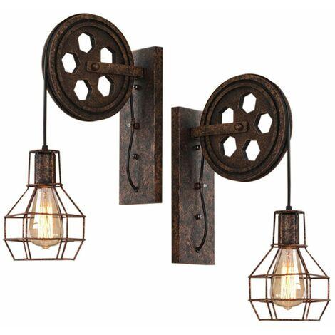 2pcs Industrial Aplique de pared Creativa?Lámpara de Polea E27 para pasillo Cafe Bar Restaurante Hotel ?Color óxido?