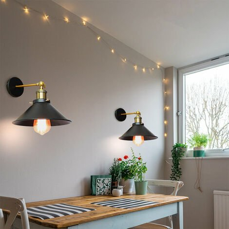 2PCS Industrial Ceiling Light 22CM Metal Iron Wall Lamp Black Retro Wall Sconce Vintage Wall Light E27 Bulb