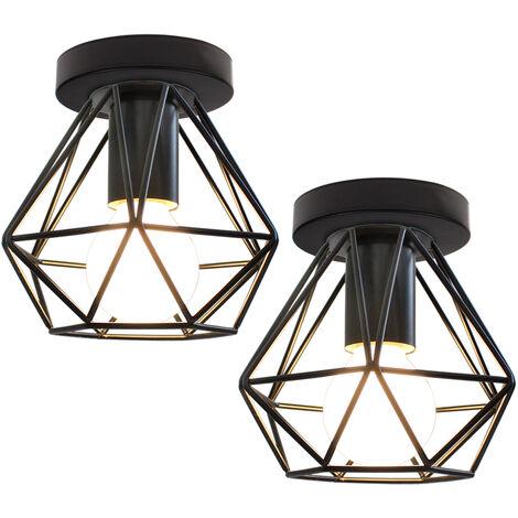 2pcs Industrial Ceiling Light Flush Mount Vintage Lamp Fixture Black Cage for Kitchen Living Room